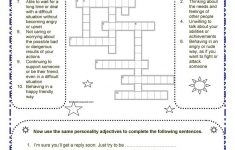 Personality Adjectives Worksheet   Free Esl Printable Worksheets   Printable Character Traits Crossword Puzzle