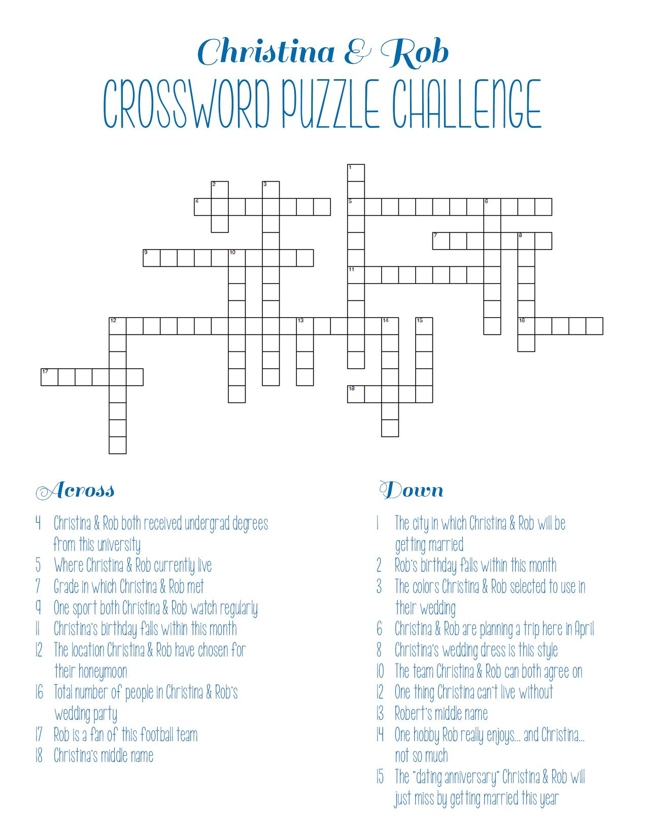 Personalized Bridal Shower Crossword Puzzle | Rehearsal Dinner - Printable Wedding Crossword Puzzle