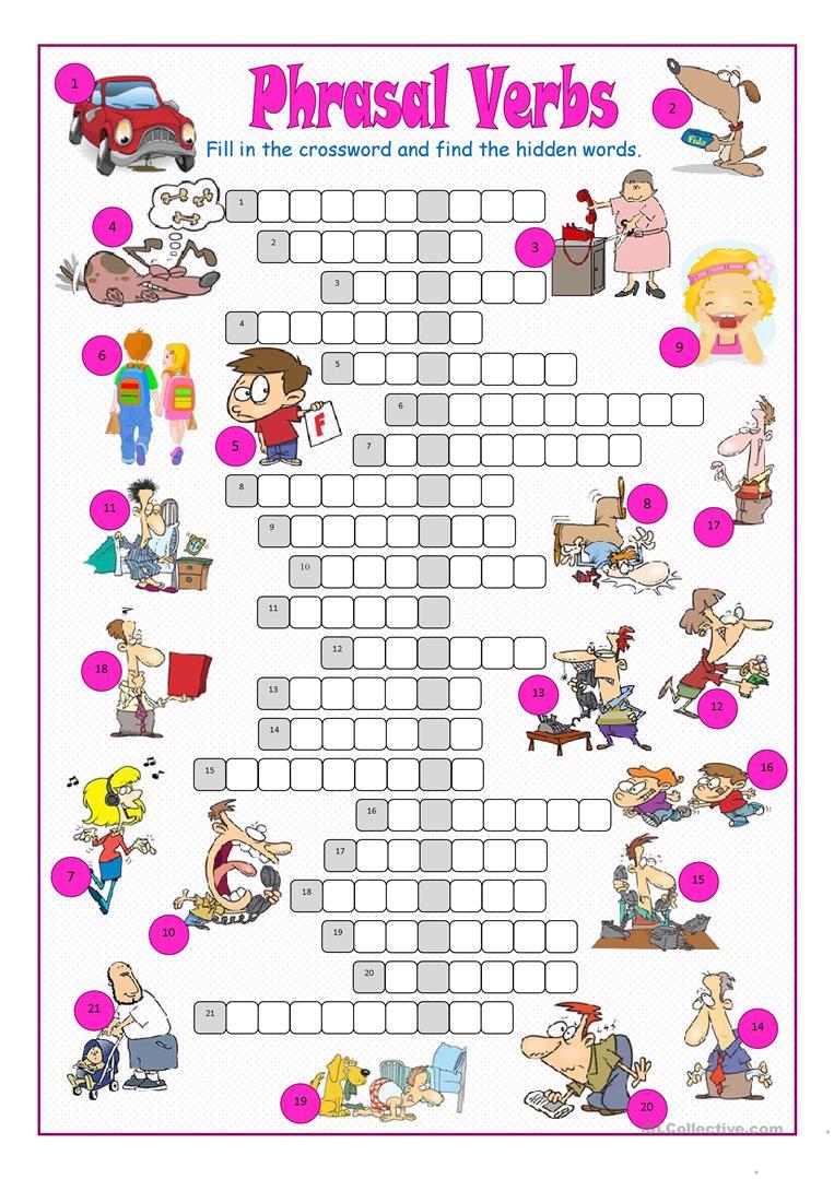 Phrasal Verbs Crossword Puzzle Worksheet - Free Esl Printable - Verbs Crossword Puzzle Printable