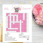 Pink Elephant Baby Shower Crossword Puzzle Printable Game   Etsy   Printable Baby Shower Crossword Puzzle Game