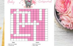 Pink Elephant Baby Shower Crossword Puzzle Printable Game | Etsy   Printable Baby Shower Crossword Puzzle Game