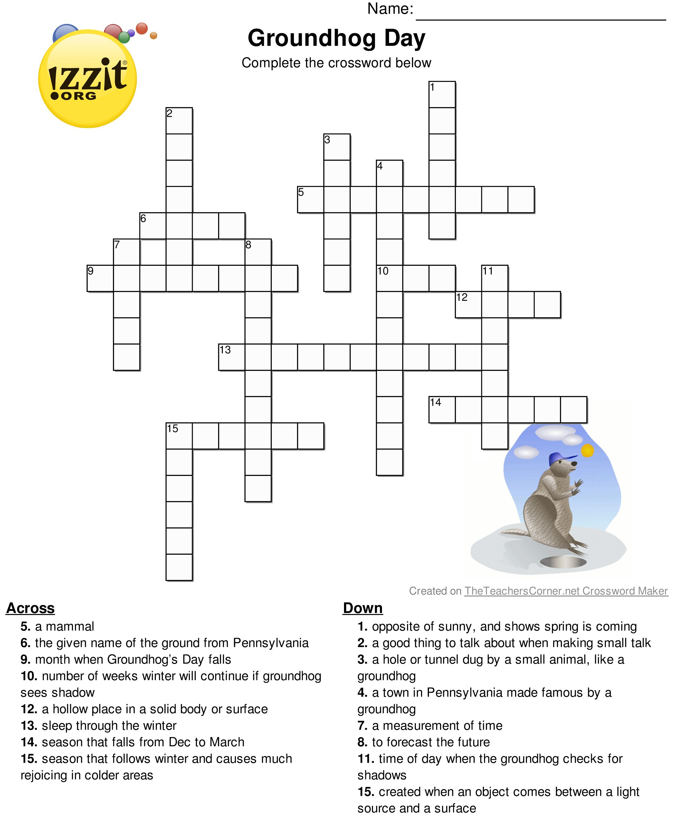 Pinterest - Groundhog Day Crossword Puzzles Printable