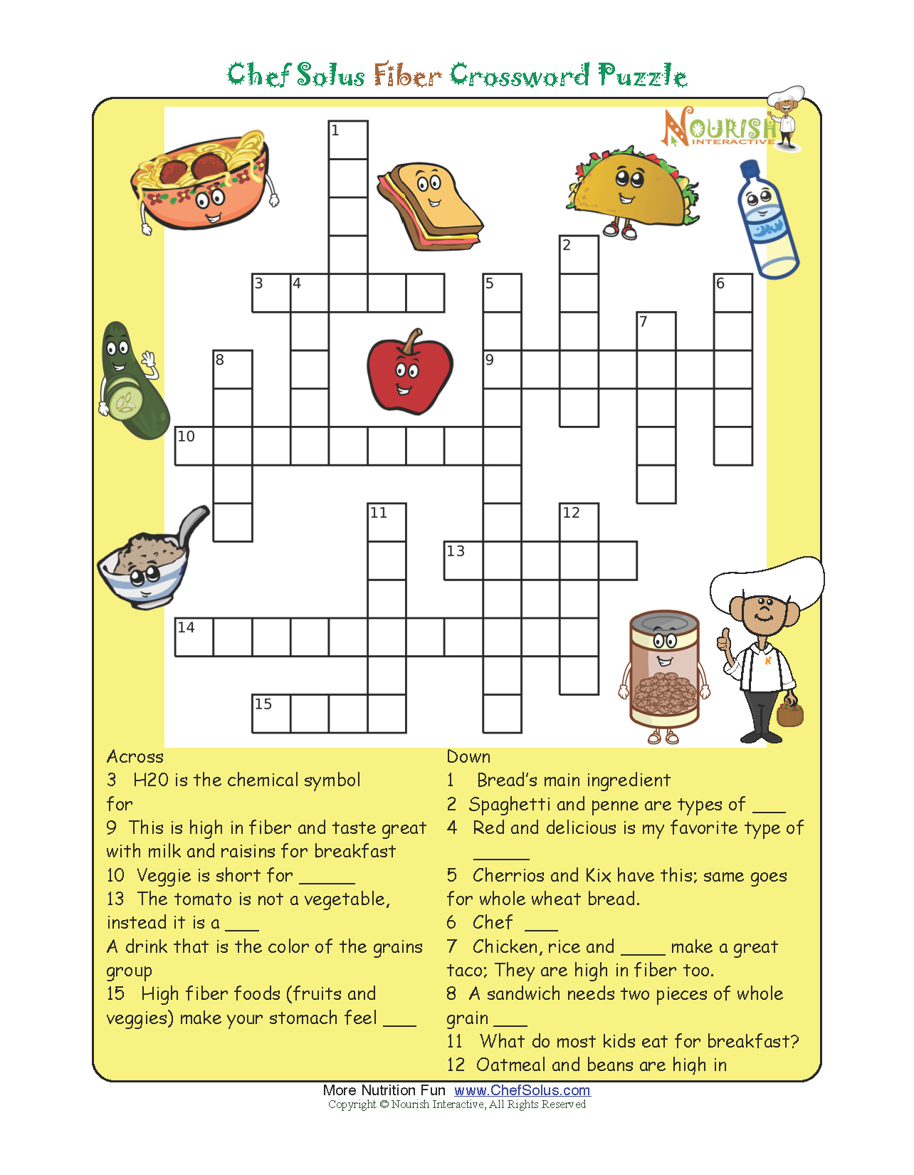 Pinthe Kids Cook Monday On Activities | Printable Crossword - Printable Nutrition Crossword Puzzle