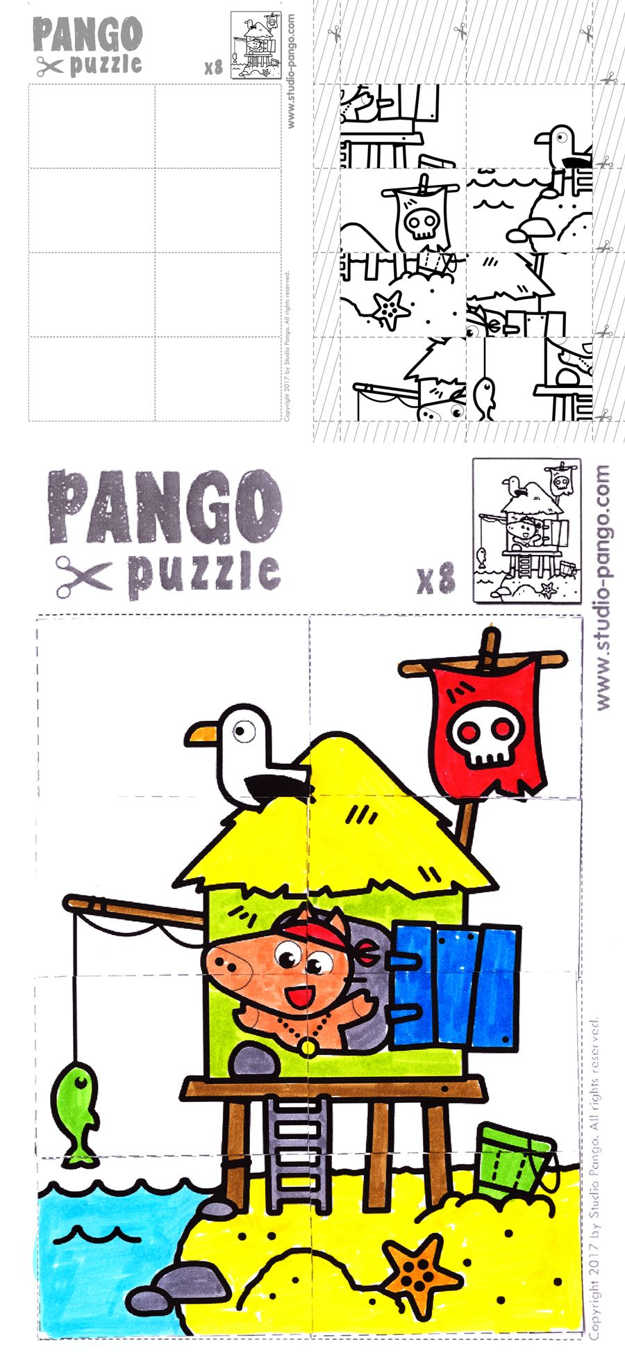 Pirate Island Jigsaw Puzzle #8 #pieces #jigsaw | Pango Printable - 8 Piece Puzzle Printable