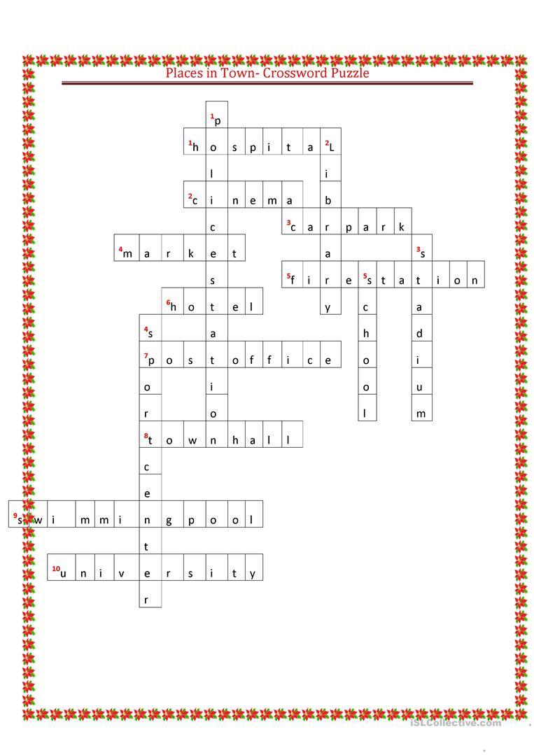 Places In Town Crossword Puzzle Worksheet - Free Esl Printable - Printable Skyscraper Puzzles