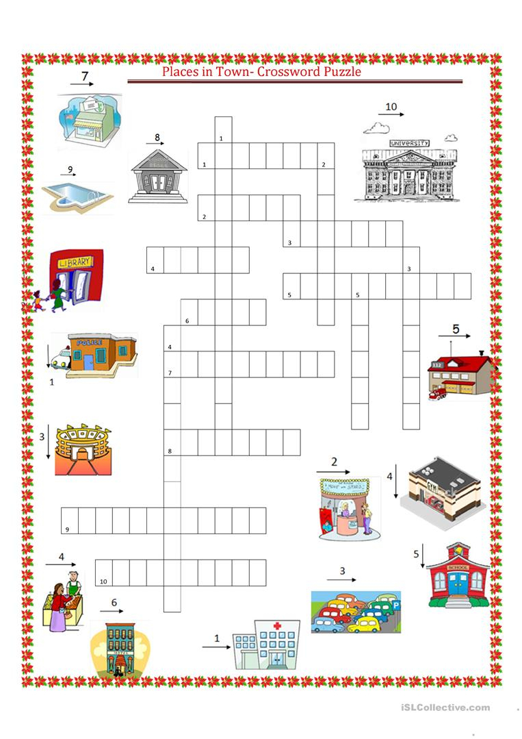 Places In Town Crossword Puzzle Worksheet - Free Esl Printable - Printable Spanish Crossword Puzzle