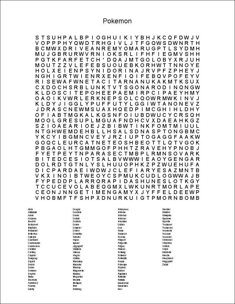 Pokemon Word Search Printable | Kid Work | Pokemon Word Search - Printable Crossword Puzzles Pokemon
