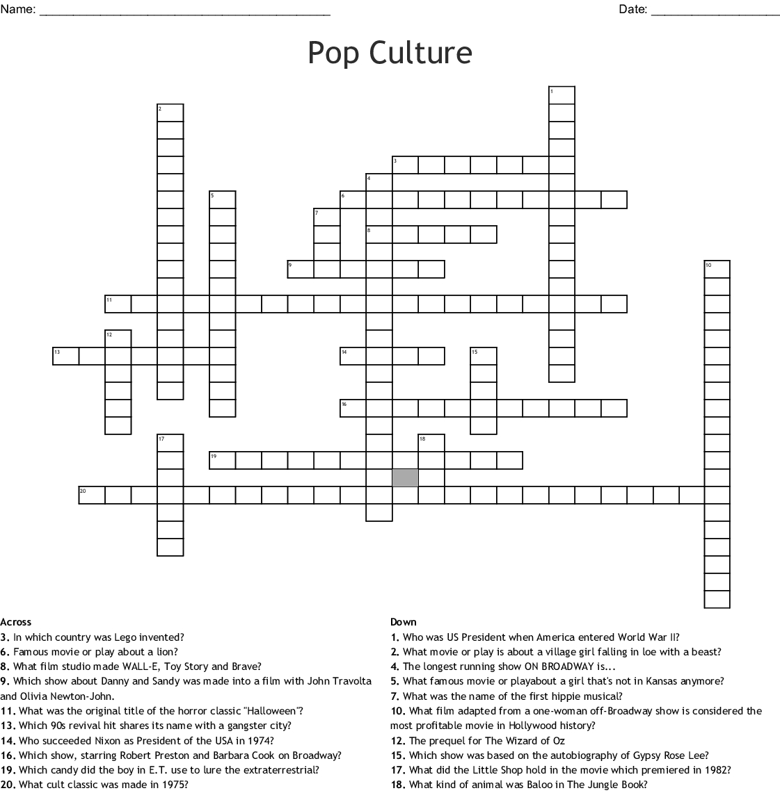 Pop Culture Crossword - Wordmint - Pop Culture Crossword Puzzles Printable