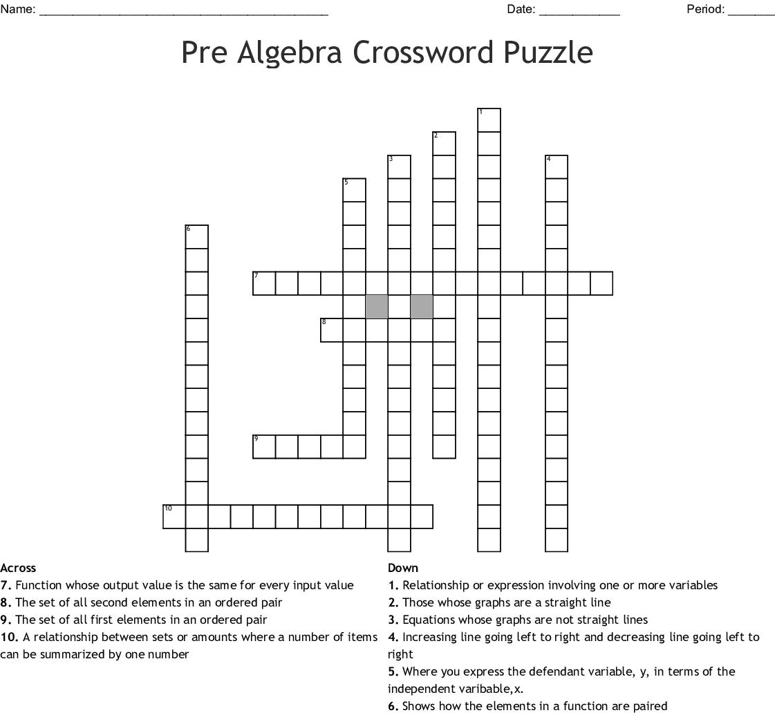 Pre Algebra Crossword Puzzle Crossword - Wordmint - Algebra Crossword Puzzle Printable