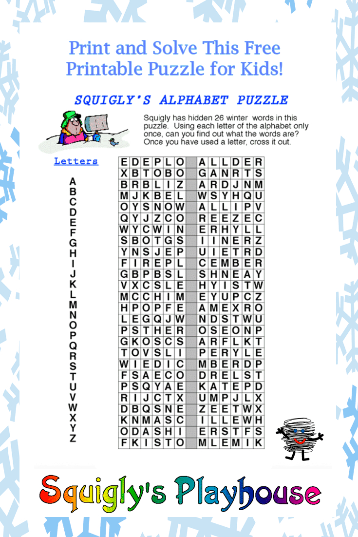 Print And Solve This Fun Winter Alphabet Puzzle. Use Each Letter - Printable Puzzle Alphabet