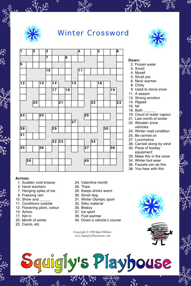 Print And Solve This Fun Winter Crossword Puzzle. Learning Is Fun At - Winter Crossword Puzzle Printable