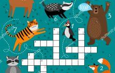 Printable Animal Crossword Preschool Puzzle Quiz Stock Vector   Printable Puzzle Quiz