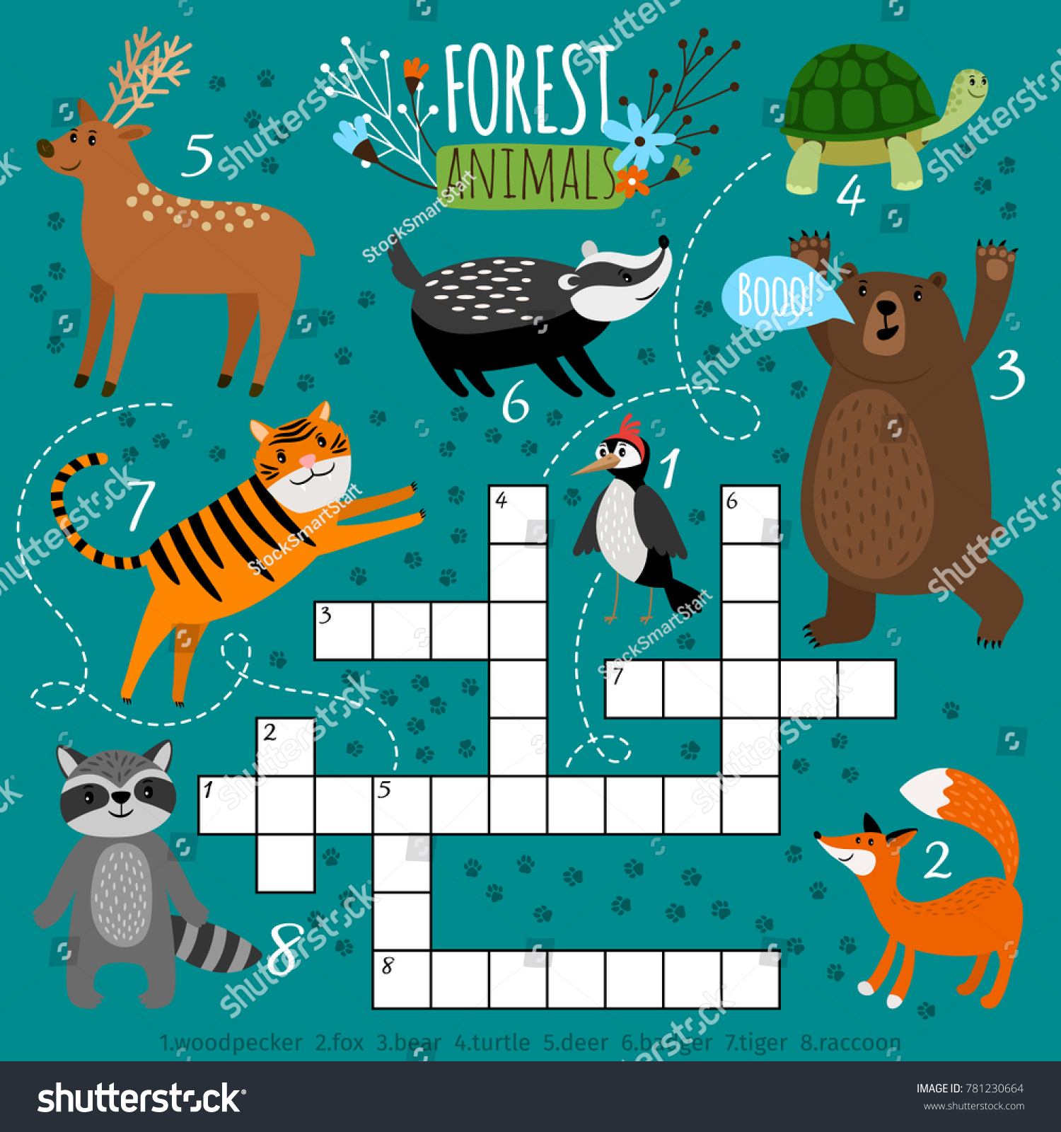 Printable Animal Crossword Preschool Puzzle Quiz Stock Vector - Printable Puzzle Quiz