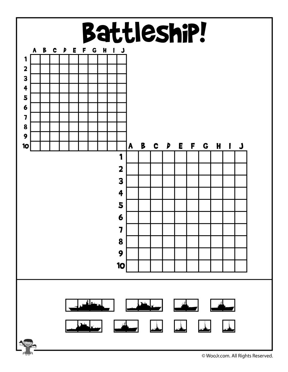 Printable Battleship Game | Woo! Jr. Kids Activities - Printable Battleship Puzzles