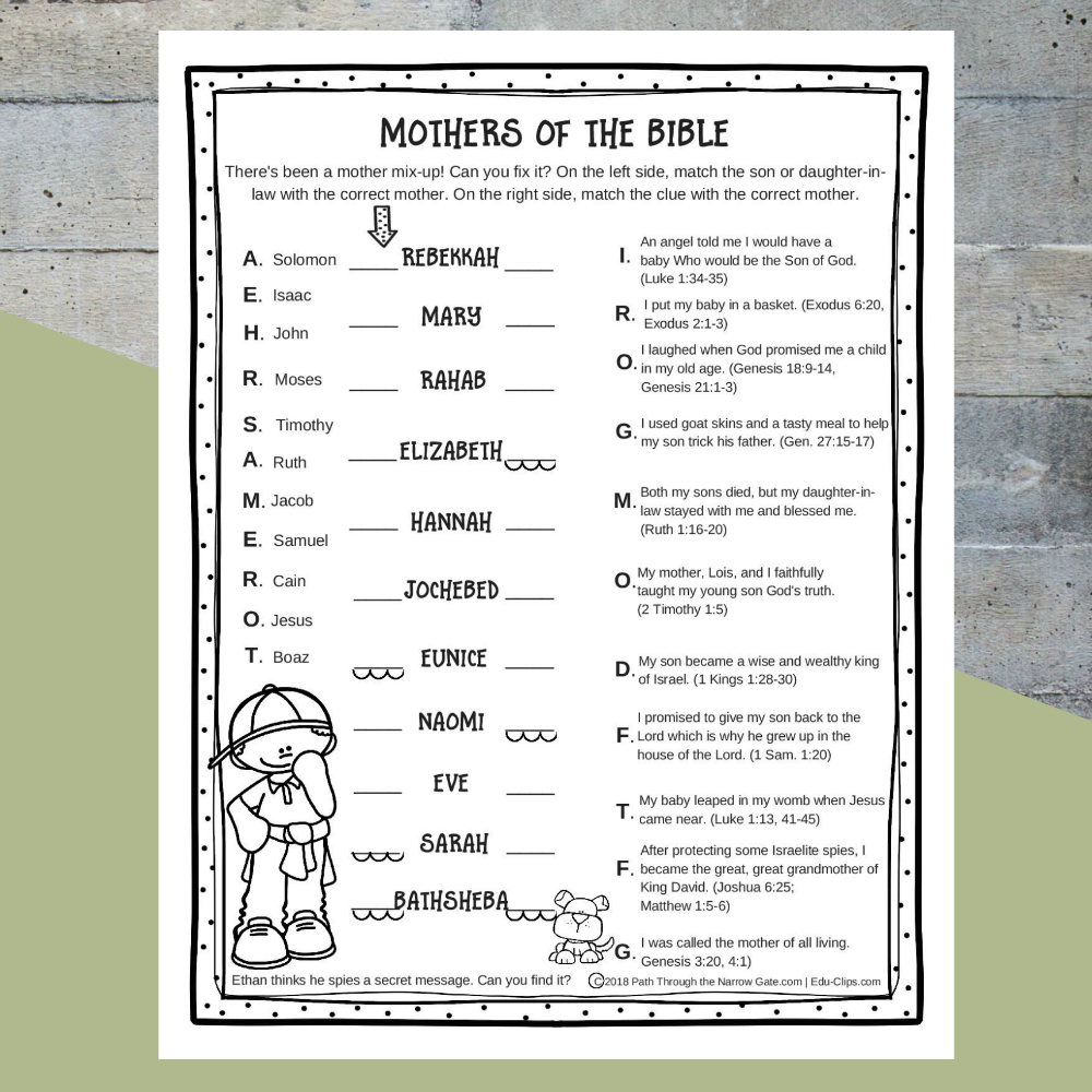 Printable Bible Activities Archives - Path Through The Narrow Gate - Printable Bible Puzzles For Preschoolers