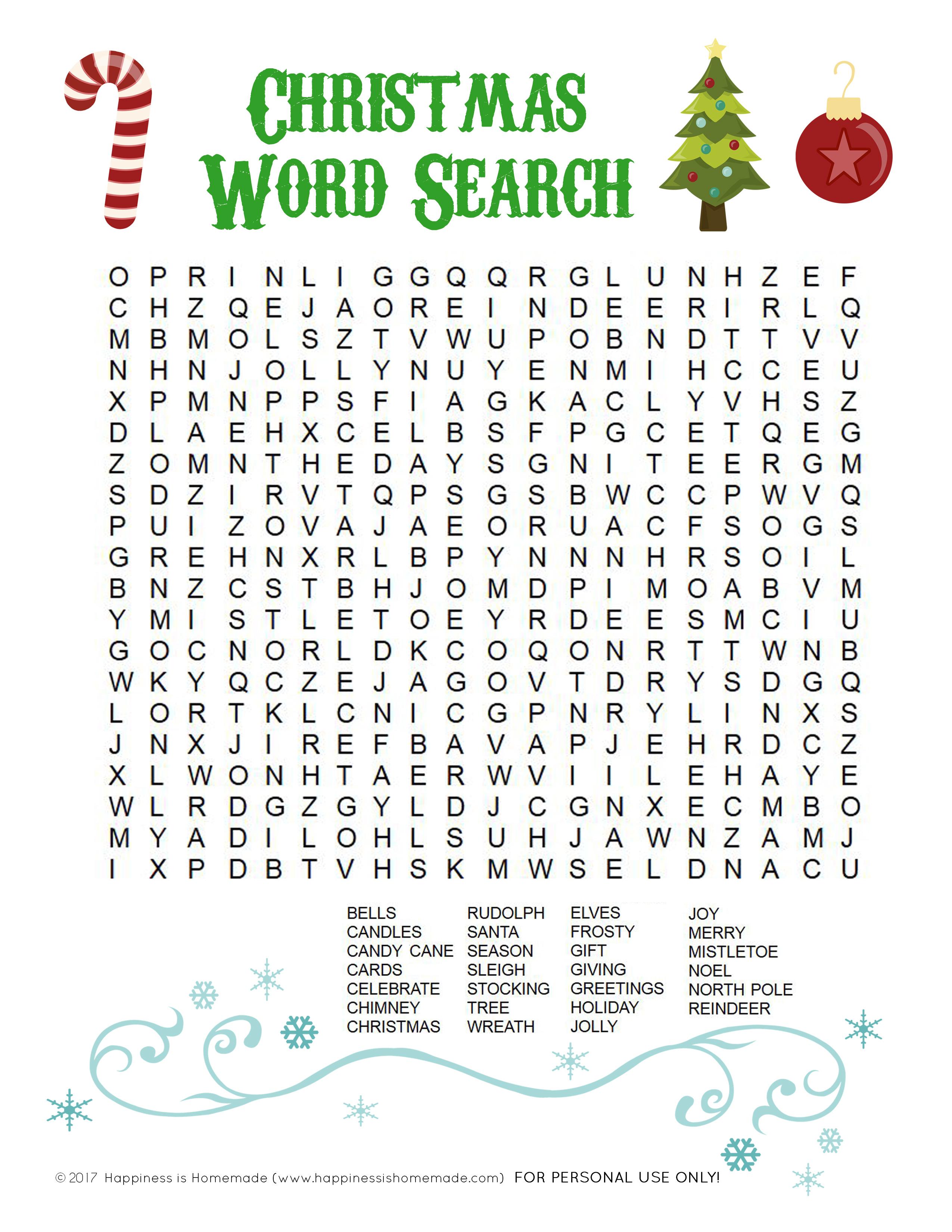 Printable Christmas Word Search For Kids & Adults - Happiness Is - Printable Christmas Puzzles For Adults