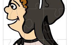 Printable Colored Pilgrim Face 3 Large Piece Puzzle   Printable Face Puzzle