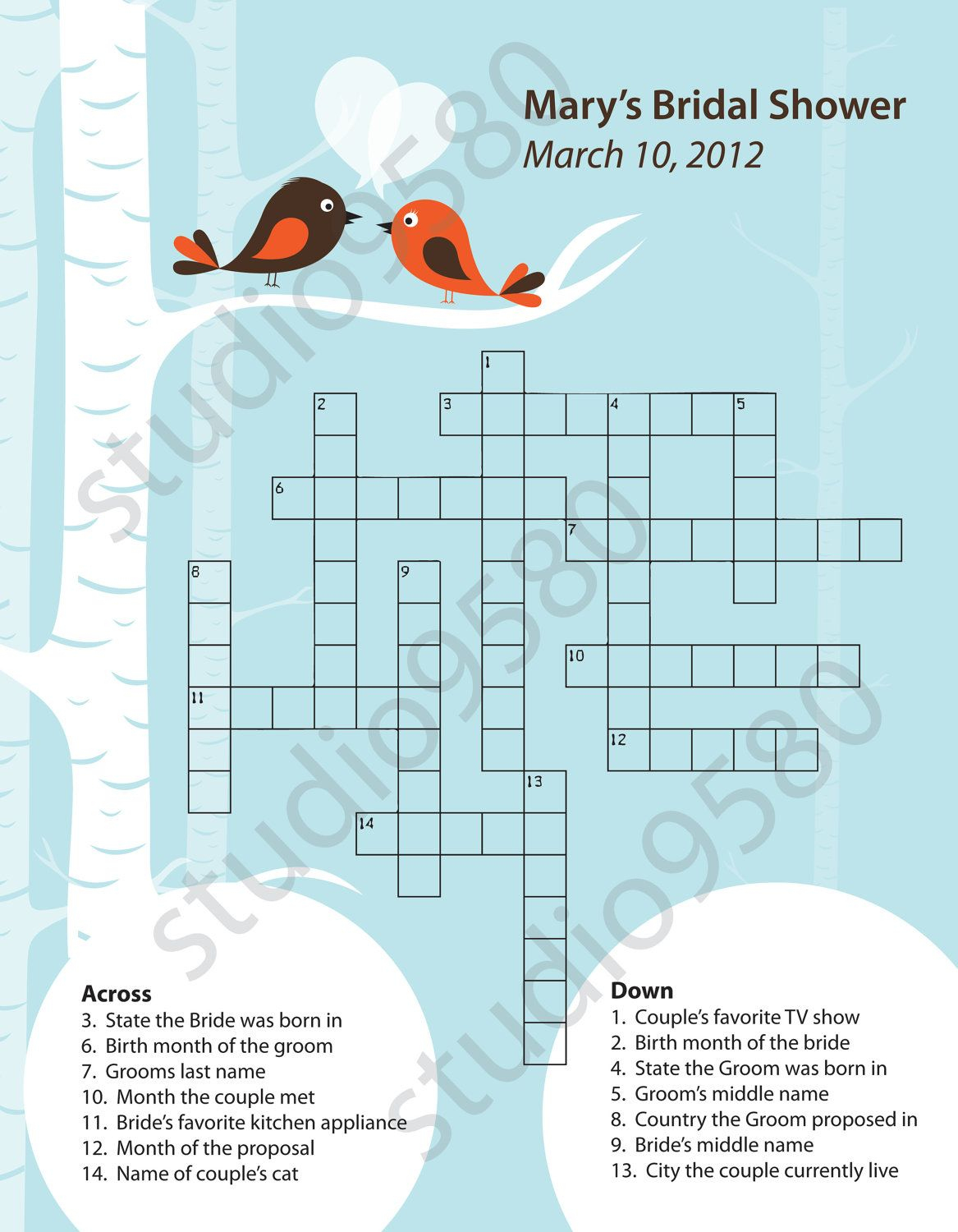 Printable Crossword Puzzle Bridal Shower Game | Bridal Shower - Printable Wedding Crossword Puzzle