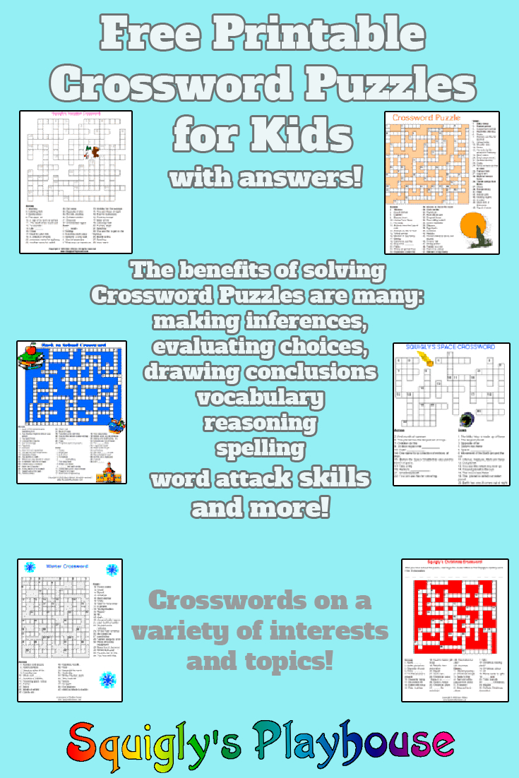 Printable Crossword Puzzles For Kids At Squigly's Playhouse - Printable Children's Crossword Puzzles