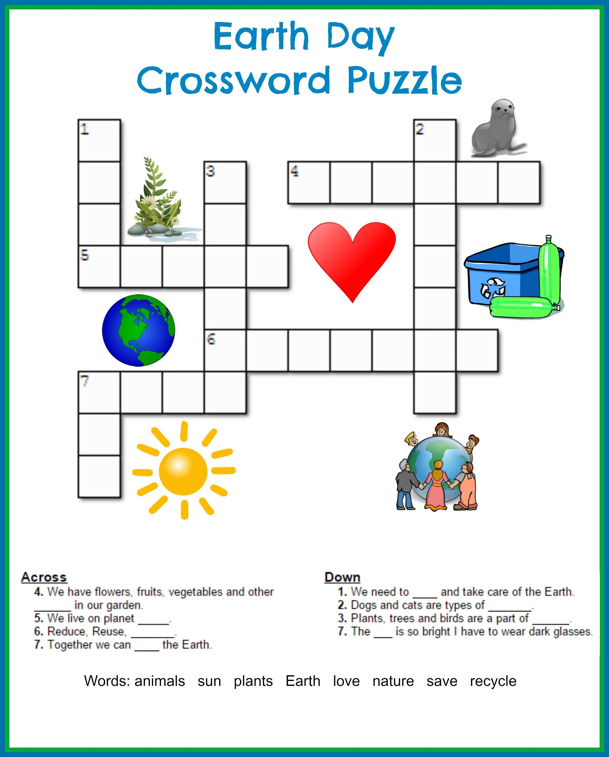 Printable Crossword Puzzles Kids | Crossword Puzzles On Earth - Printable Crossword Puzzles For 5Th Graders