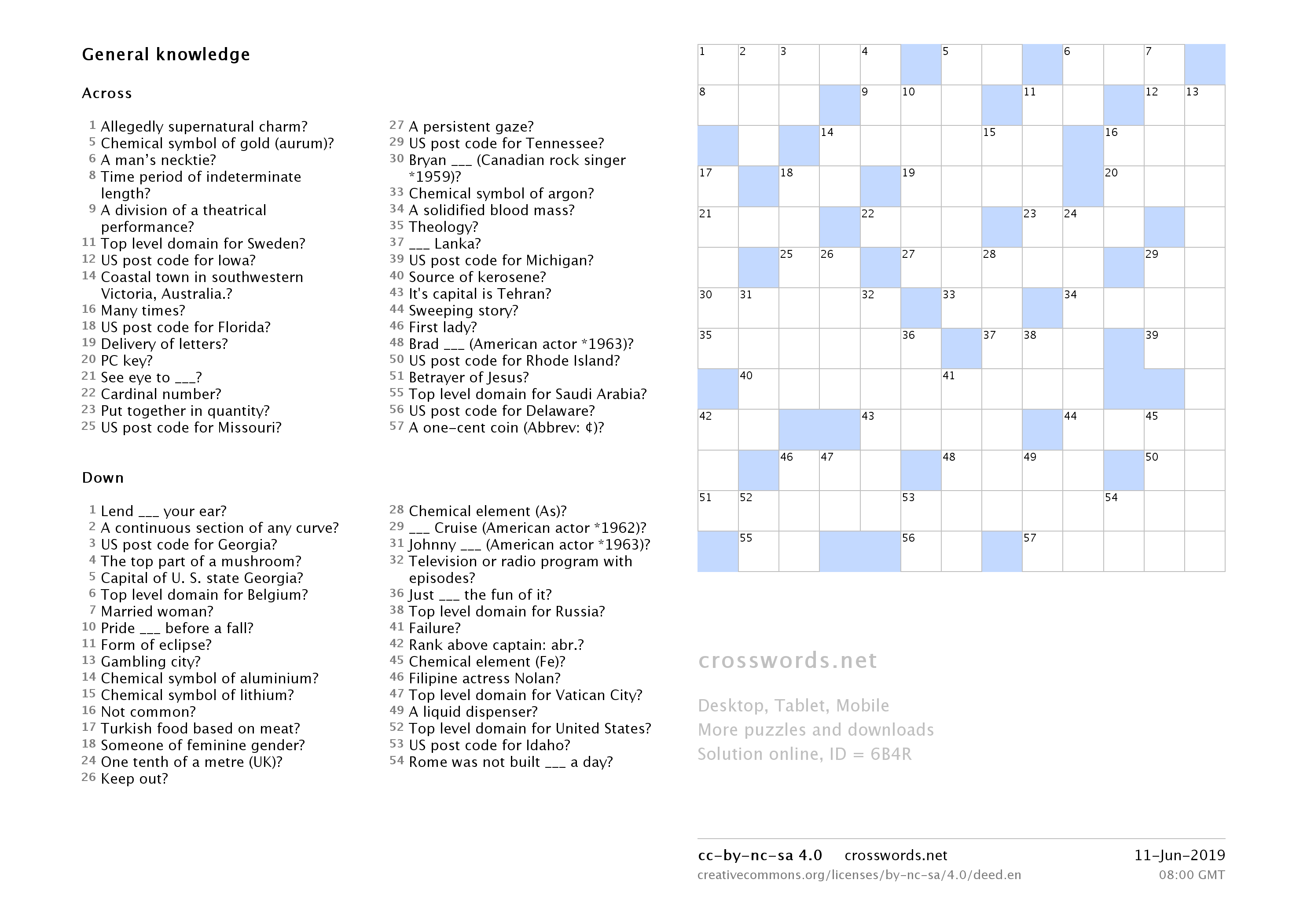Printable Crosswords  Crosswords - Printable Crosswords.net