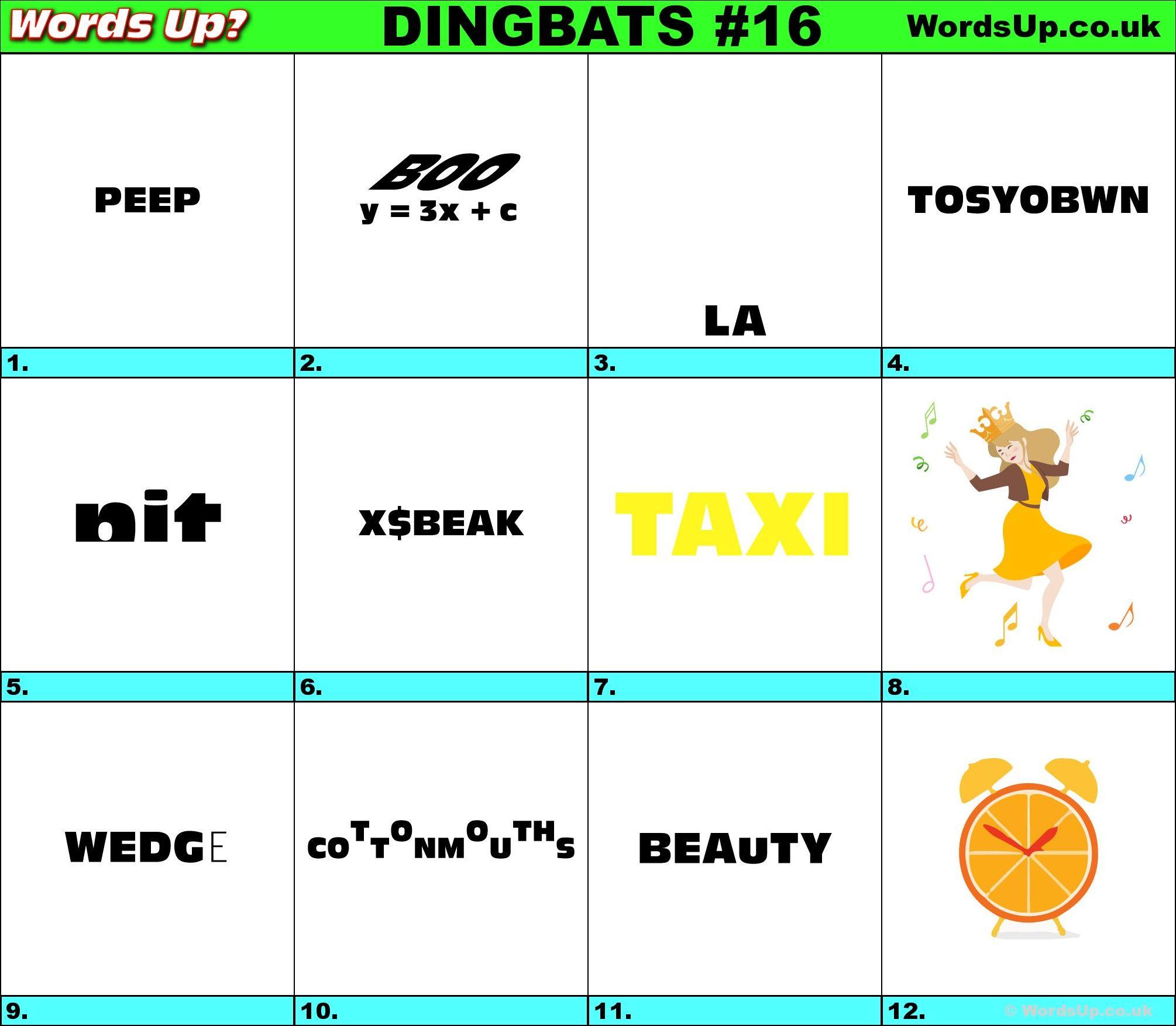 Printable Dingbats #16 - Rebus Puzzles | Rebuses | Rebus Puzzles - Printable Dingbat Puzzles