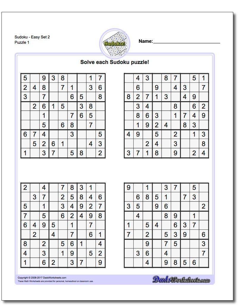 Printable Easy Sudoku   Math Worksheets   Sudoku Puzzles, Maths - Printable Sudoku Puzzles Krazydad