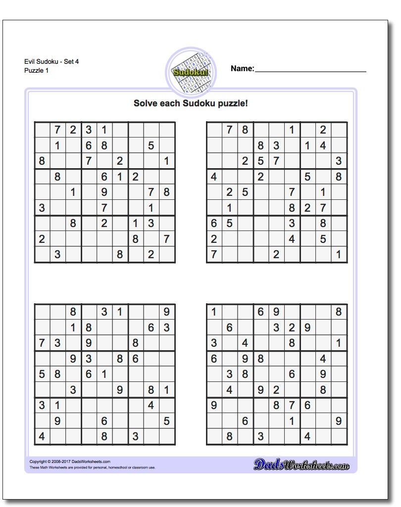 Printable Evil Sudoku Puzzles | Math Worksheets | Sudoku Puzzles - Sudoku Puzzle Printable With Answers
