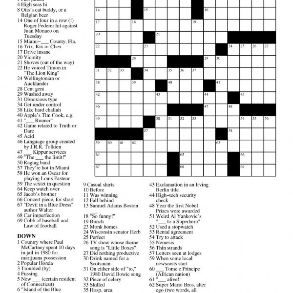 Printable Free Crosswords & Free Printable Crossword Puzzles Sc 1 - Printable Daily Crosswords For January 2018