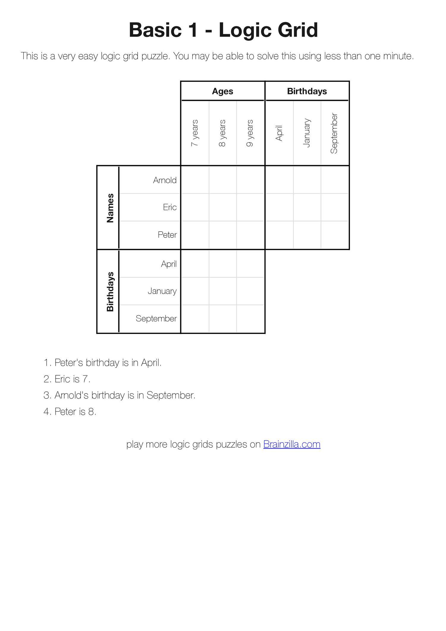 Printable Logic Grid Puzzles (Brainzilla).pdf | Docdroid - Printable Grid Puzzles