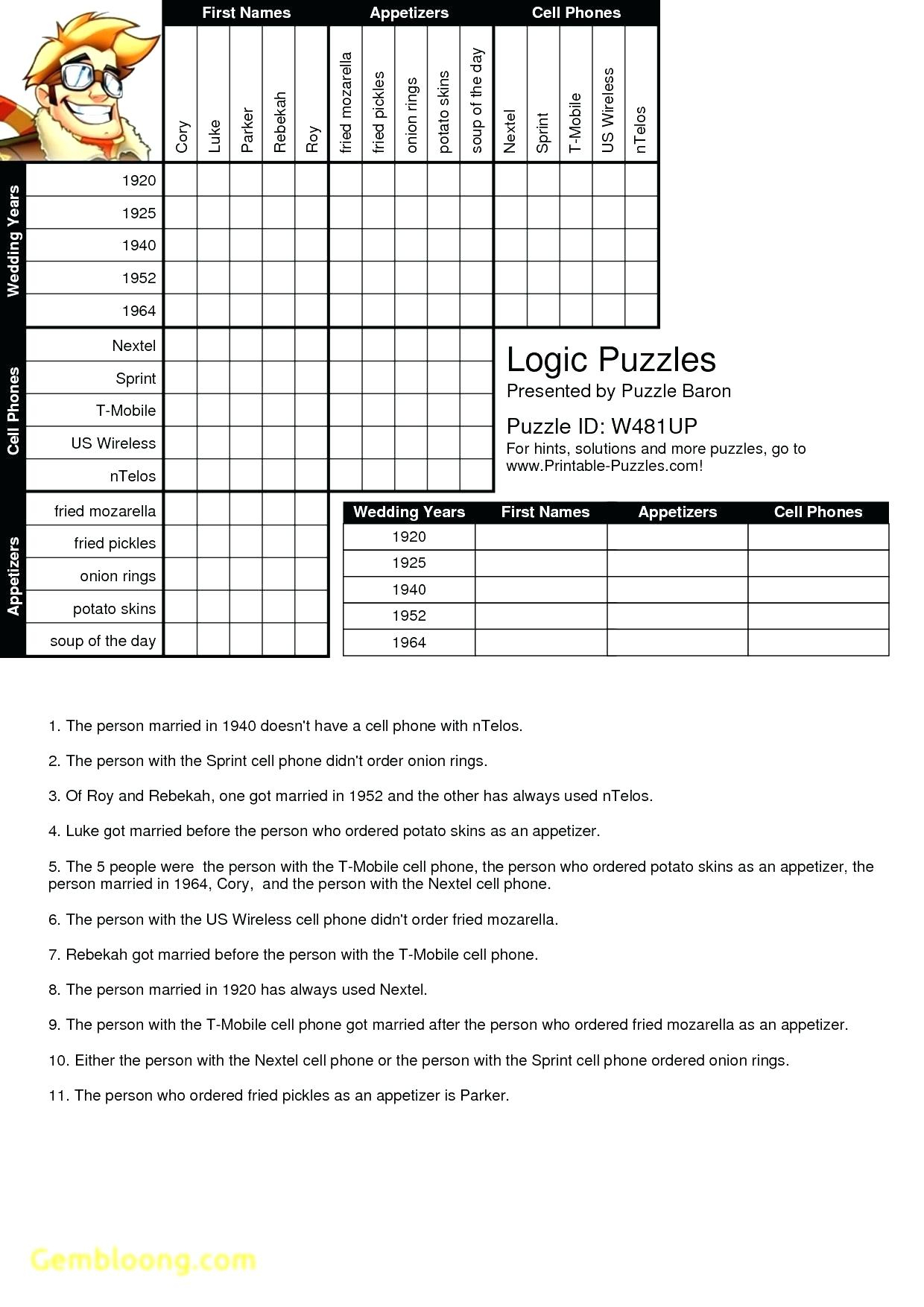 Printable Logic Puzzle – Myheartbeats.club - Printable Logic Puzzles 4Th Grade