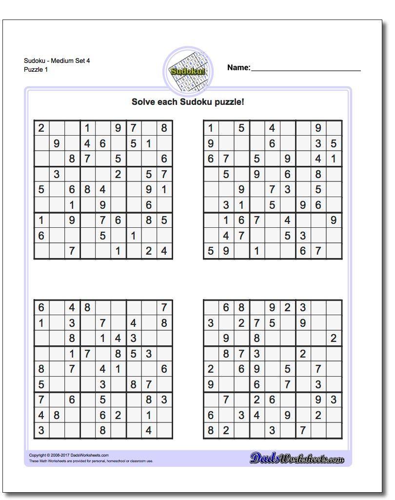 Printable Medium Sudoku Puzzles | Math Worksheets | Sudoku Puzzles - Printable Sudoku Puzzles 4 Per Page