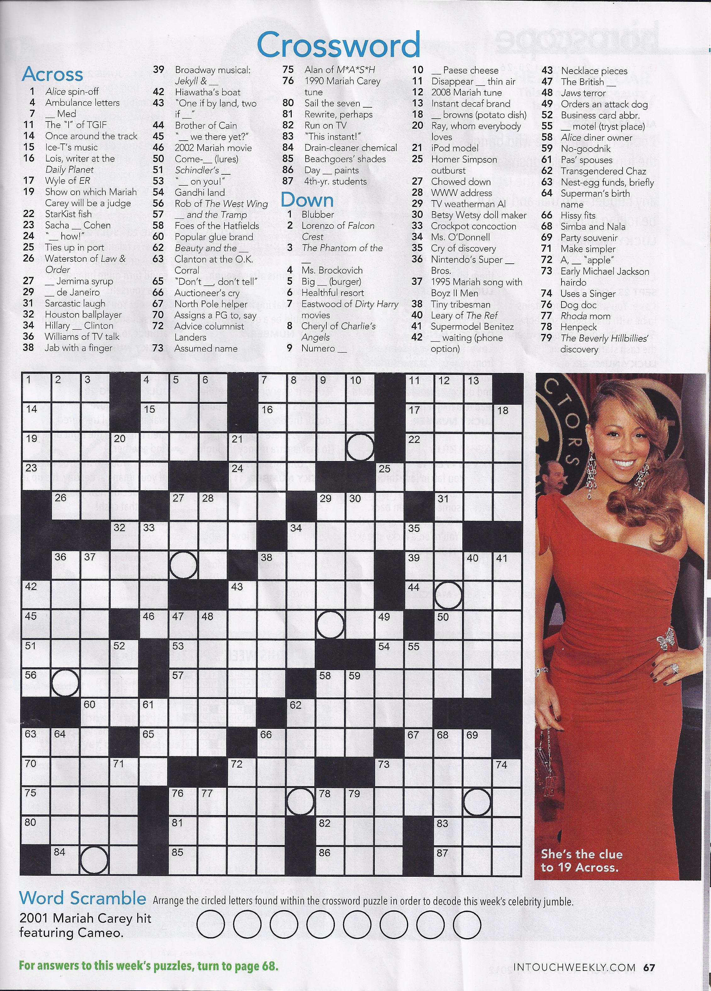 Printable People Magazine Crossword Puzz - Printable People Magazine Crossword Puzzles
