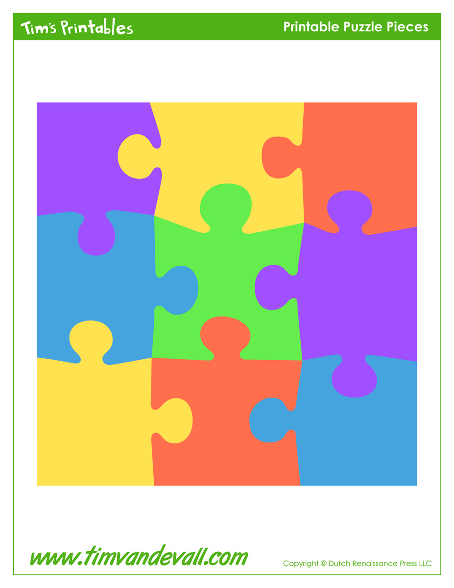 Printable Puzzle Piece Stickers - Tim's Printables - 6 Piece Printable Puzzle