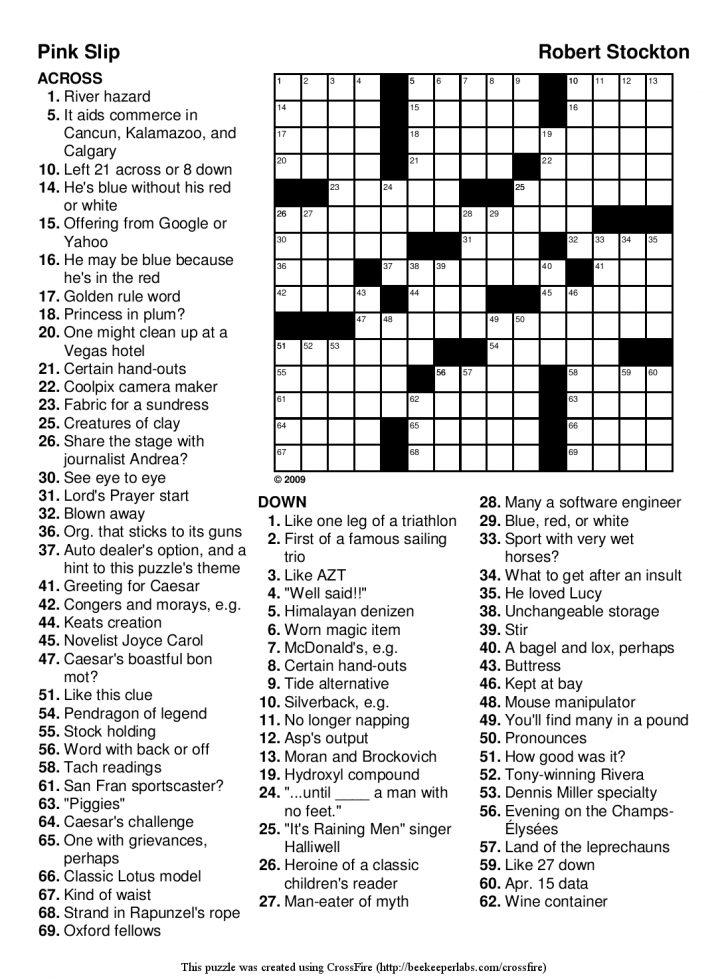 Printable Crossword Puzzles For Adults With Answers