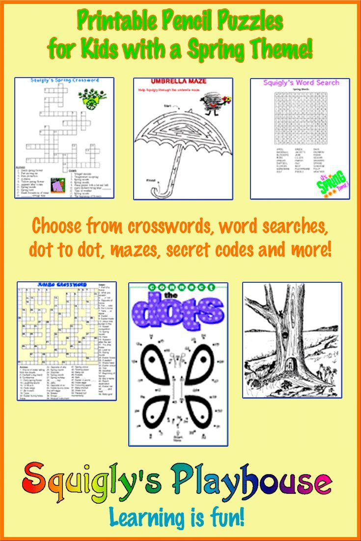Printable Spring Puzzles For Kids | Crossword, Word Searches And - Printable Spring Puzzles