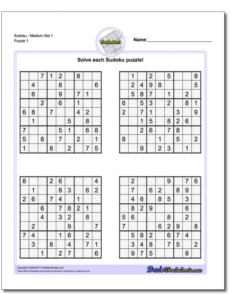 Printable Sudoku Free - Printable Sudoku Puzzles Easy #1