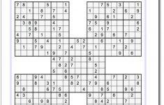 Printable Sudoku Puzzle Samurai Five Puzzle Set 1! Printable Sudoku   Printable Puzzles With Answers
