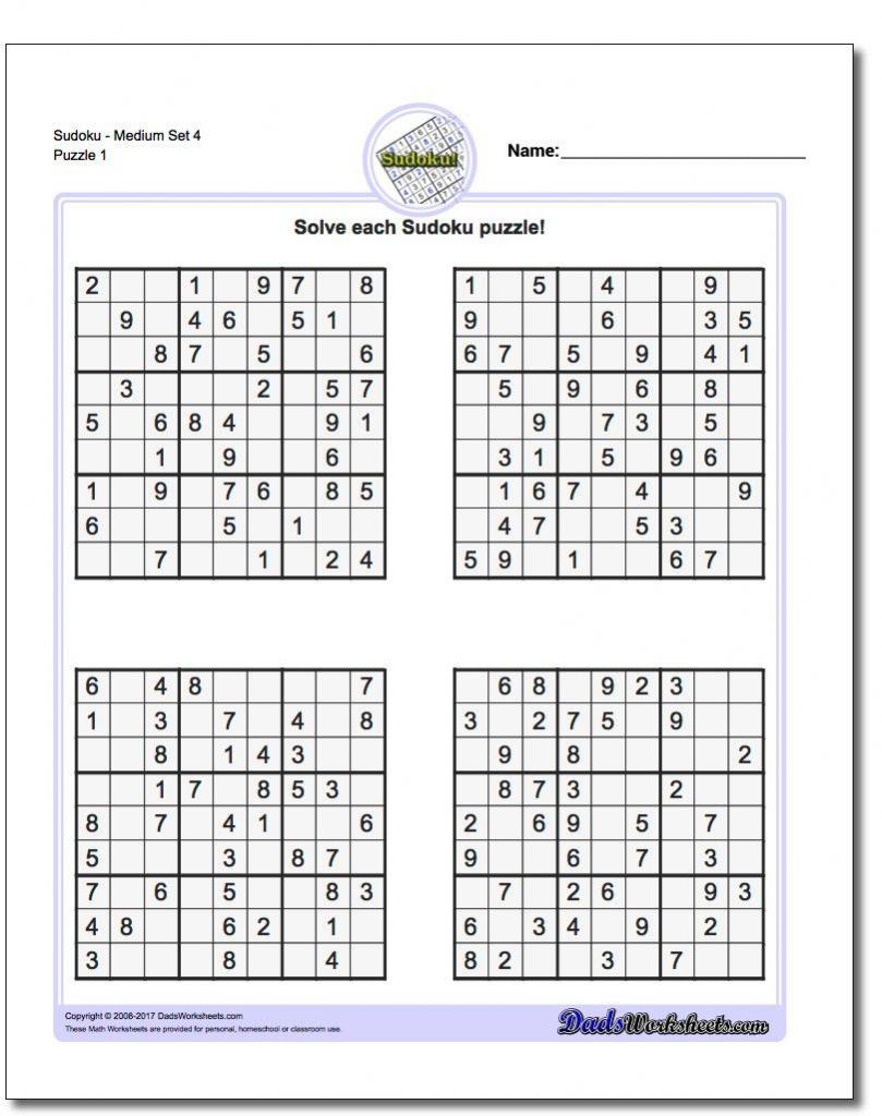 Printable Sudoku Puzzles 4 Per Page Pdf | Printable Sudoku Free - Printable Sudoku Puzzles Easy #4