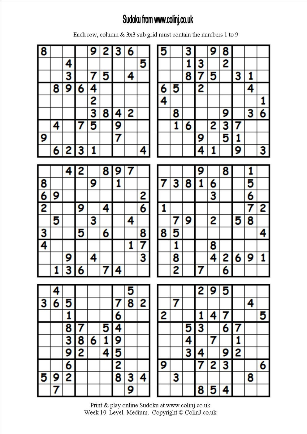 Printable Sudoku Puzzles 6 Per Page | Download Them Or Print - Free - Printable Sudoku Puzzles 1 Per Page