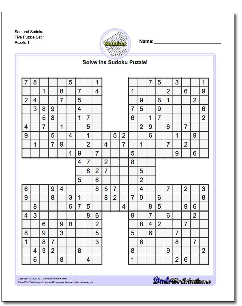 Printable Sudoku Samurai! Give These Puzzles A Try, And You'll Be - Printable Sudoku Puzzles 16X16