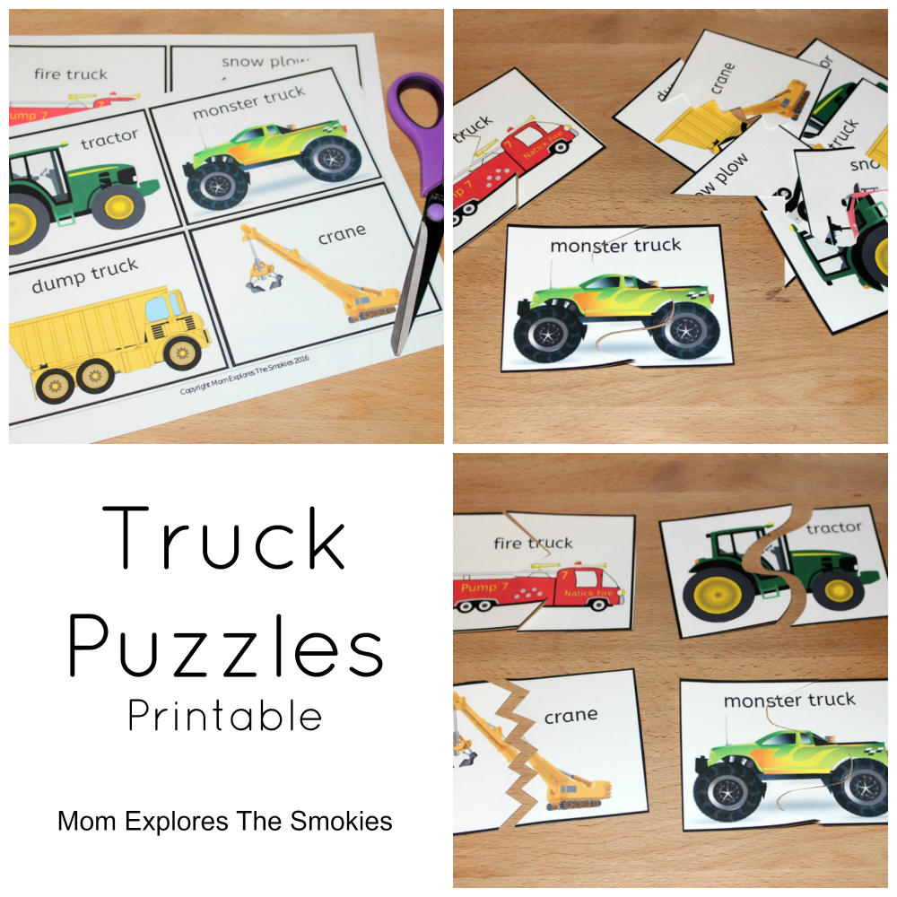 Printable Truck Puzzles | Lilia | Puzzles For Toddlers, Truck Crafts - Printable Transportation Puzzles