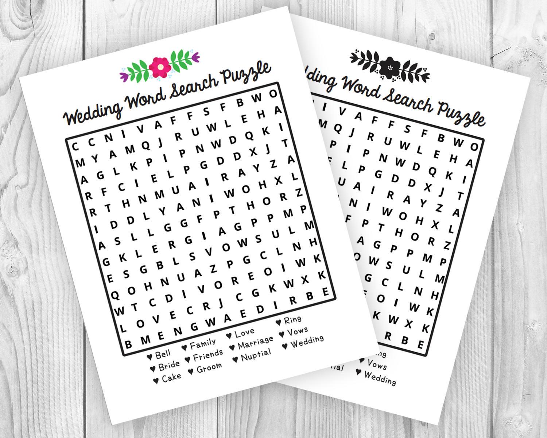 Printable Wedding Activity Word Search Puzzle | Etsy - Printable Wedding Puzzles