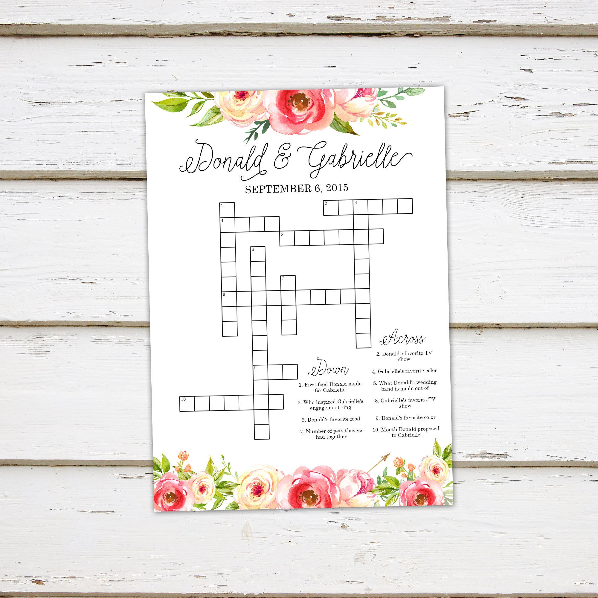 Printable Wedding Crossword Puzzle Game Games For Wedding | Etsy - Free Printable Wedding Crossword Puzzle