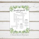 Printable Wedding Crossword Puzzle Game Games For Wedding | Etsy   Printable Wedding Crossword Puzzle