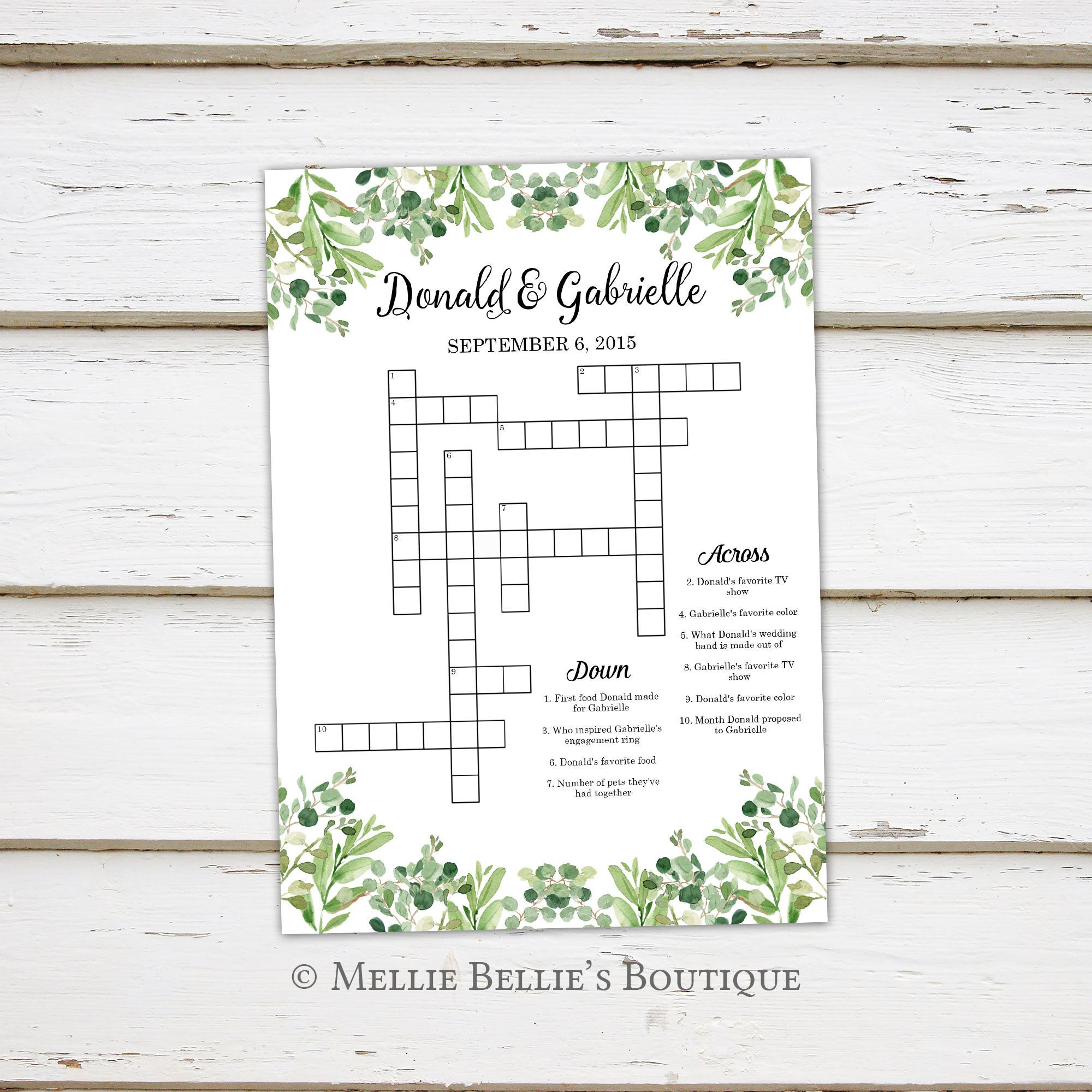 Printable Wedding Crossword Puzzle Game Games For Wedding | Etsy - Printable Wedding Crossword Puzzle