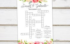 Printable Wedding Crossword Puzzle Game Games For Wedding   Etsy   Printable Wedding Crossword Puzzle