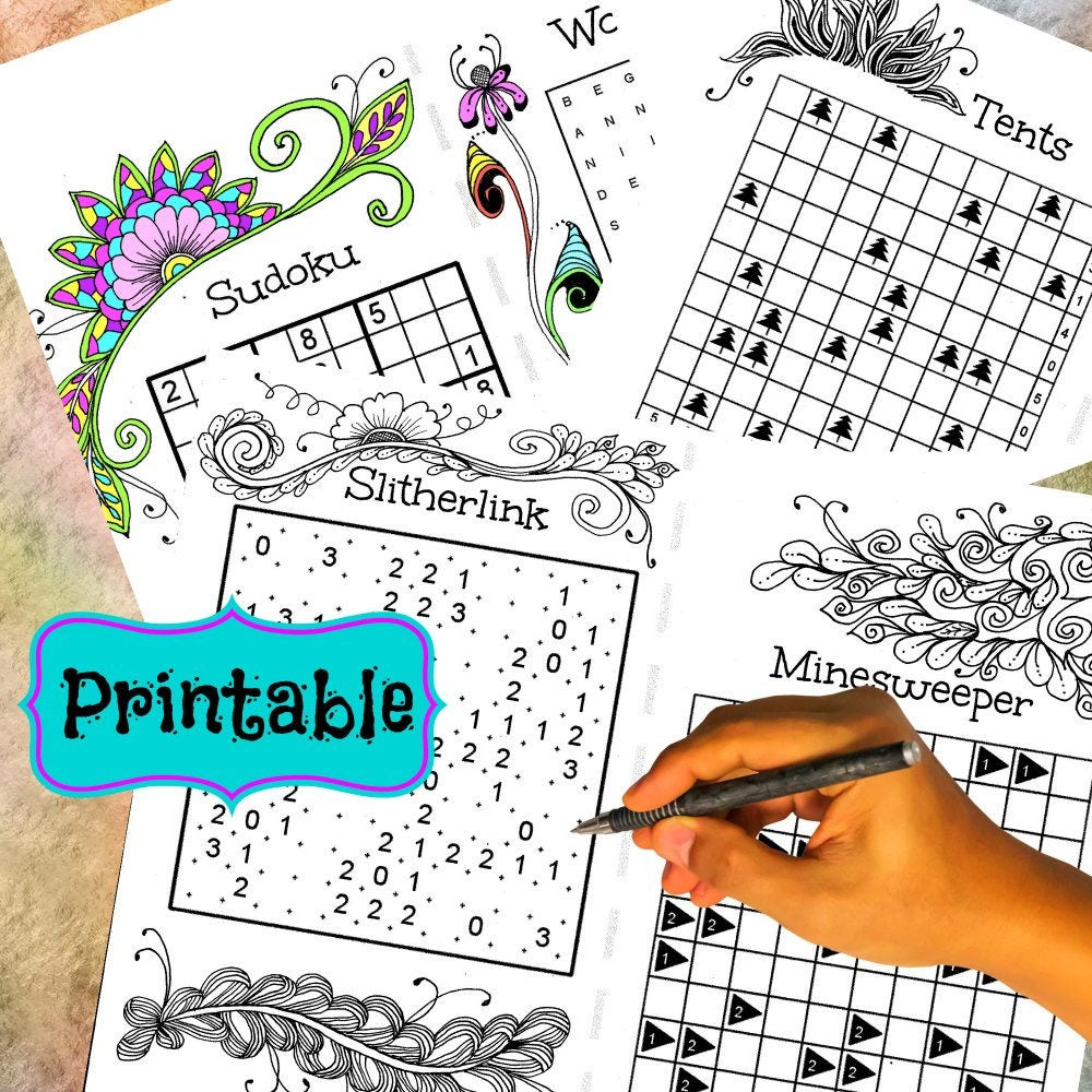 Printable Word Number And Logic Puzzles Combined With Adult | Etsy - Printable Minesweeper Puzzles