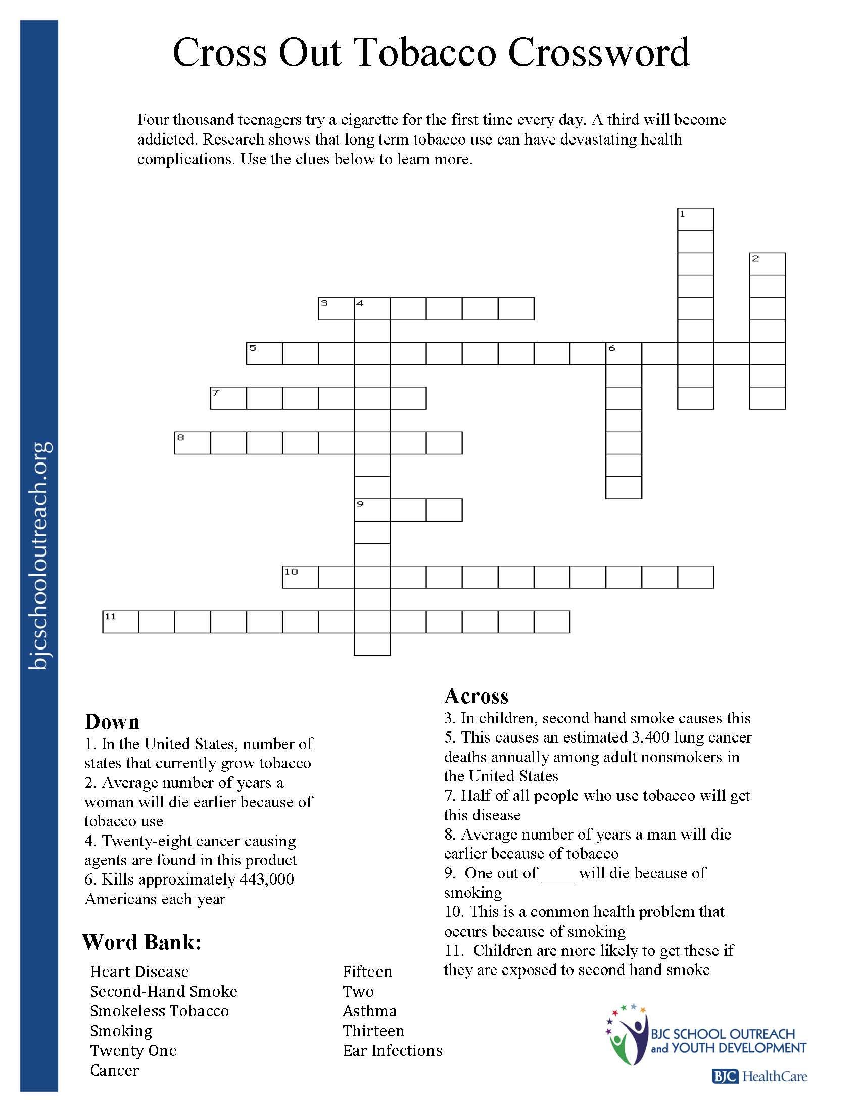 Printable Worksheets - Printable Nutrition Crossword Puzzle