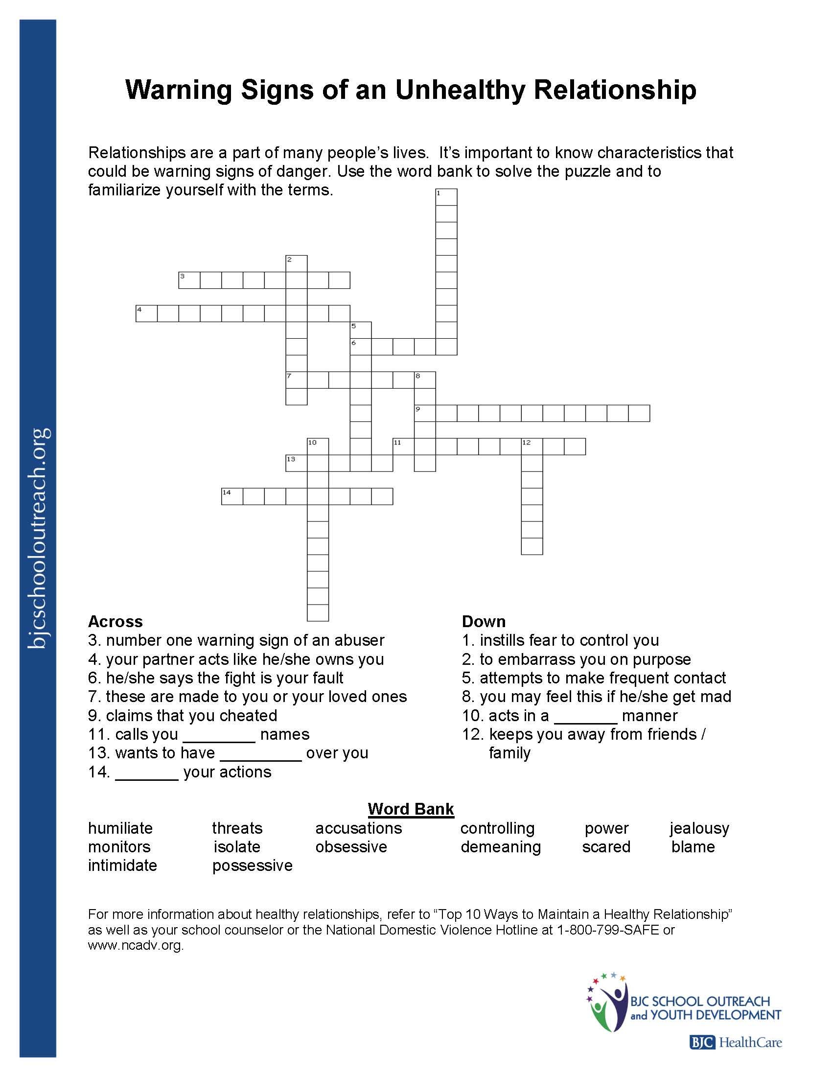 Printable Worksheets - Printable Quiz Crossword